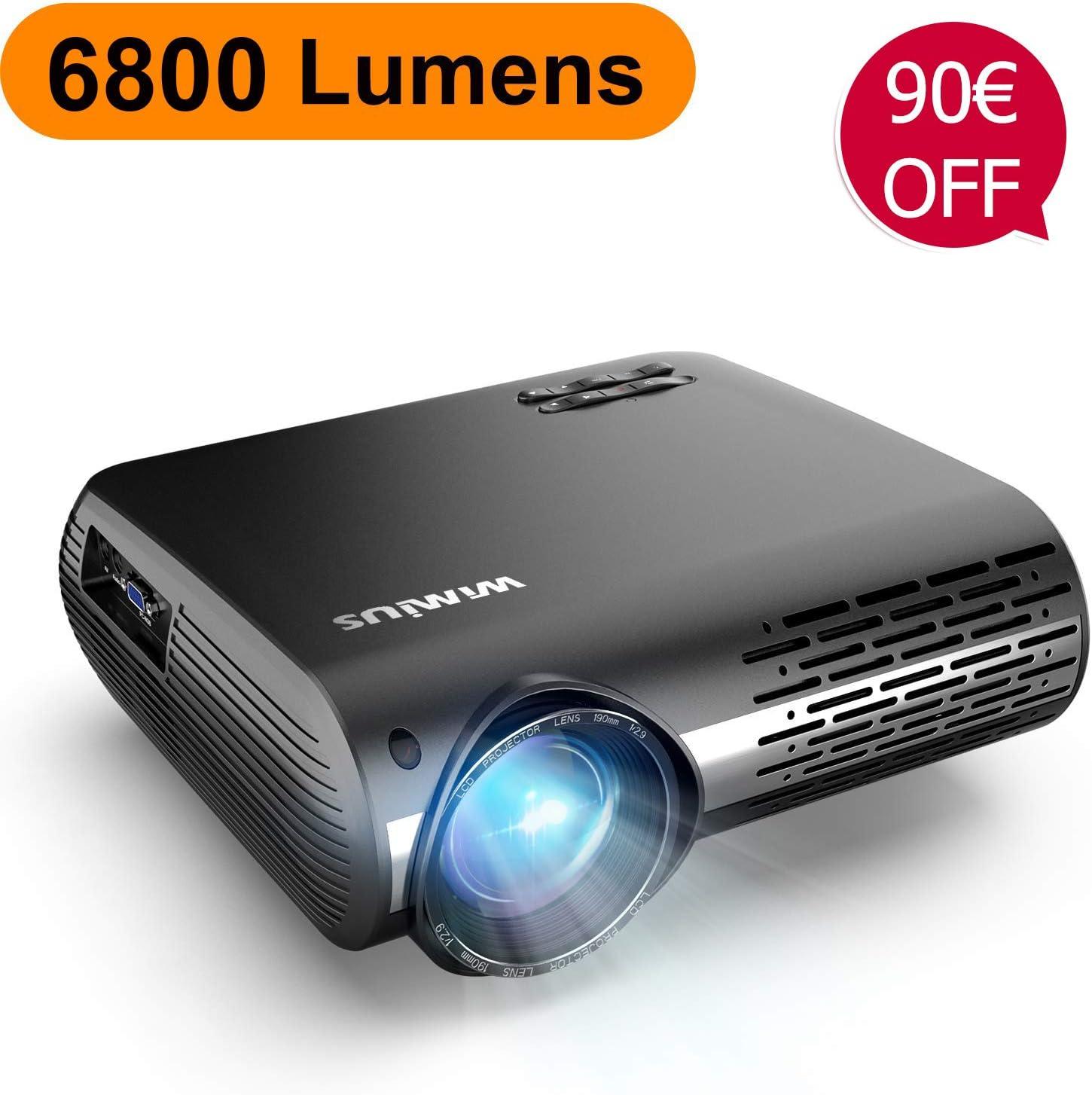 Proyector, WiMiUS 6800 Lúmenes Proyector Full HD 1920x1080P Nativo Soporta 4K Proyector Video Sonido Dolby Ajuste Digital 4D 90,000 Horas Proyector LED para Cine en Casa y Presentación Empresarial