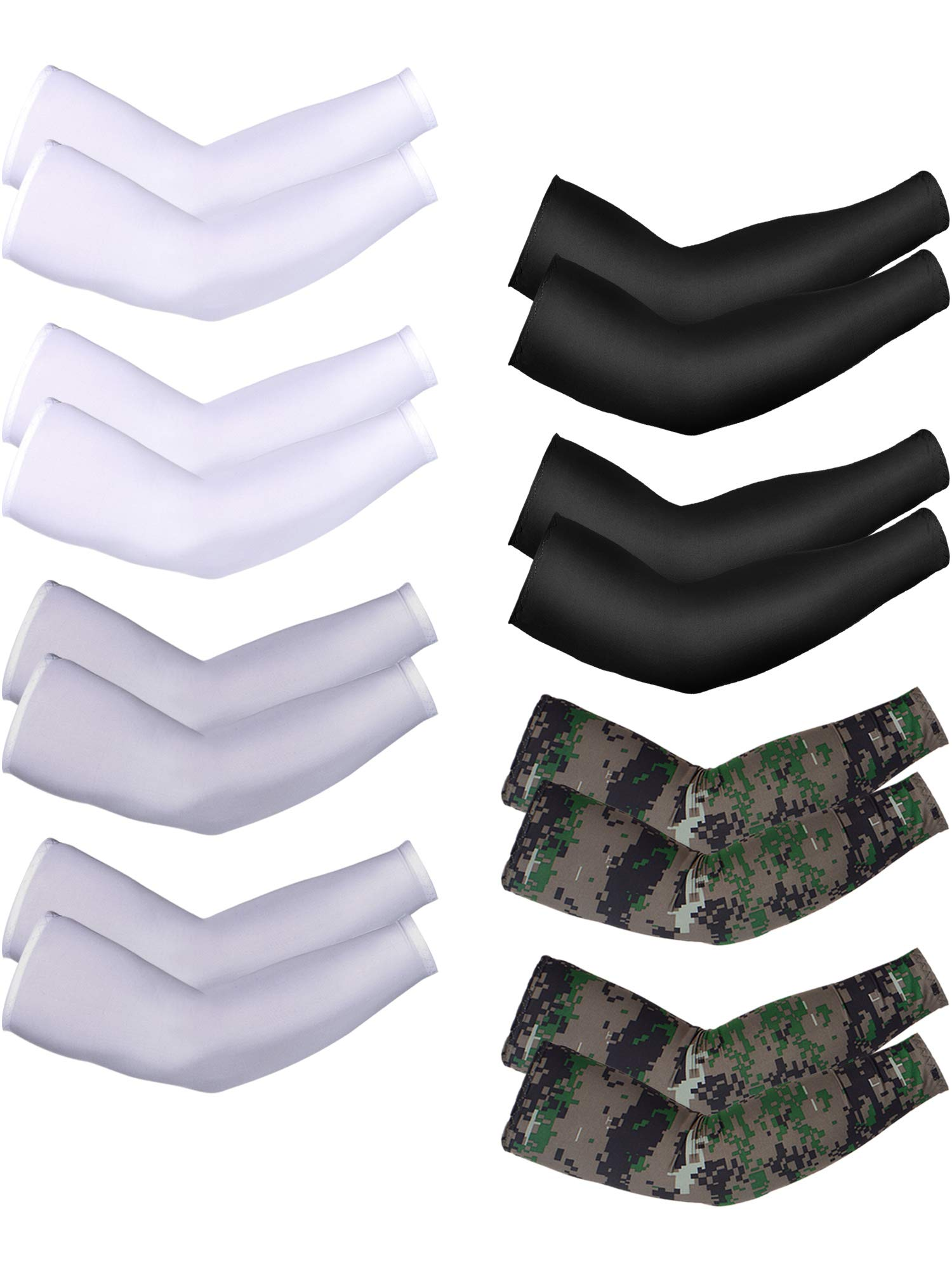 Bememo 8 Pairs Unisex UV Sun Protection Arm Sleeves Ice Silk Arm Cooling Sleeves (Color Set 8) by Bememo