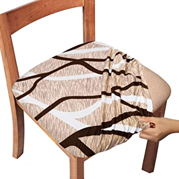Amazon Com Gute Chair Seat Covers Dining Room Chair Seat Covers With Ties Stretch Printed Chair Covers Protectors For Dining Room Kitchen Chairs Set Of 4 Apricot Stripe Kitchen Dining