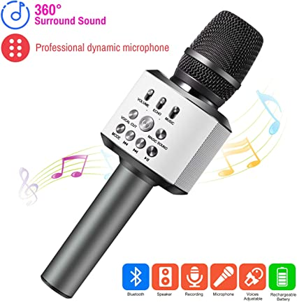 ERAY Micrófono Inalámbrico Karaoke Bluetooth 4 en 1, Batería de ...