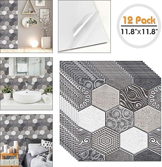 Home Bathroom Kitchen 3D Wall Decor Sticker Gray Peel and Stick Backsplash Tile
