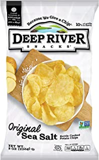 product image for Deep River Snacks Original Sea Salt Kettle Cooked Potato Chips, Non GMO, 8 Ounce (Pack of 12)