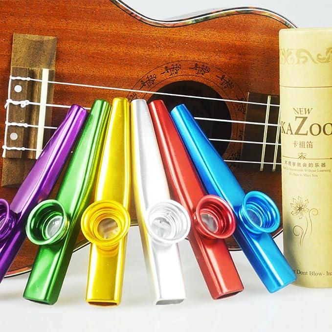 Vitasemcepli - Juego de 6 kazzo de metal en aleación de aluminio. Instrumento musical portátil y el acompañamiento de la guitarra y del violín.