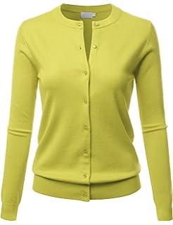 LALABEE Women s Crew Neck Gem Button Long Sleeve Soft Knit Cardigan Sweater de5bdeb97