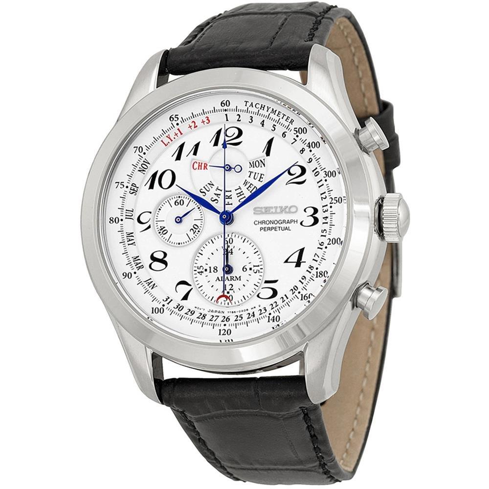 Seiko Men's SPC131P1 Neo Classic Alarm Perpetual Chronograph White Dial Black Leather Strap Watch by Seiko