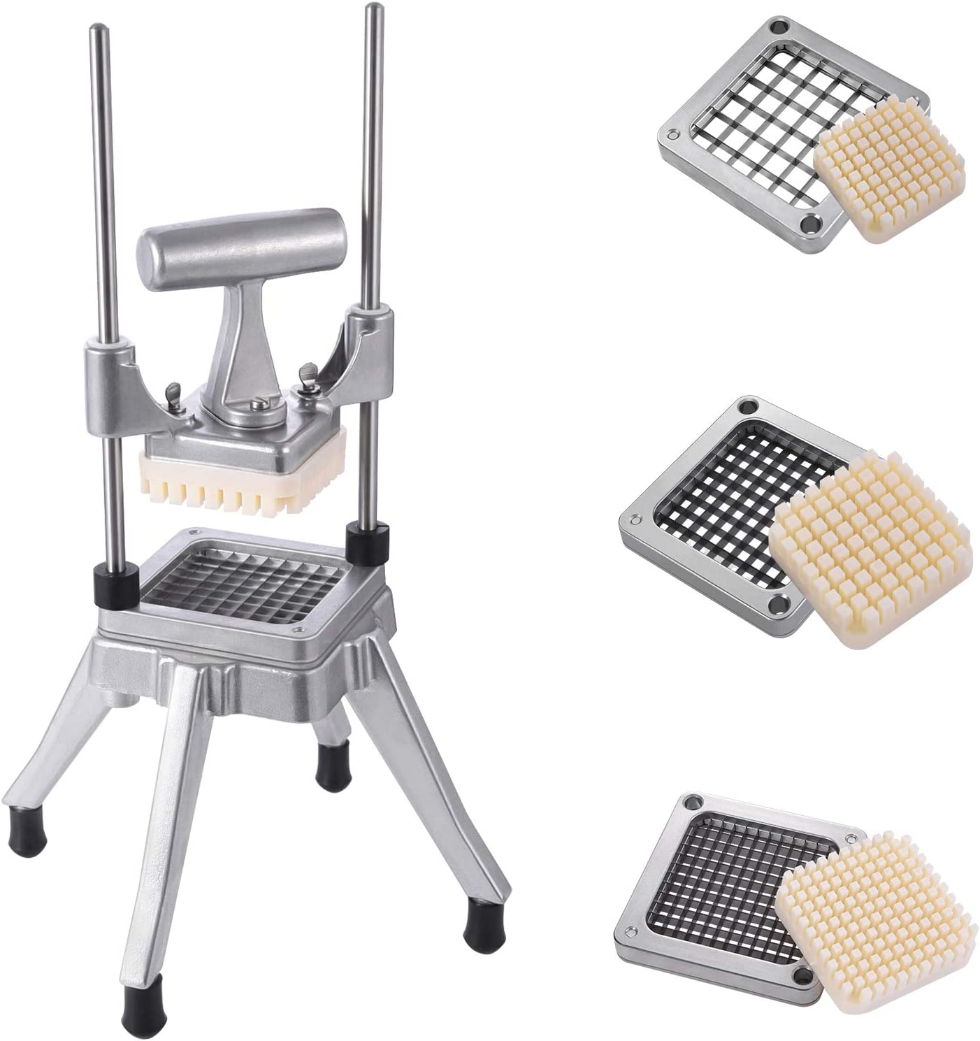 Frifer Commercial Vegetable Fruit Chopper French Fry Cutter with 3 Sizes Blades Heavy Duty Professional Food Dicer Stainless Steel Potato Chopper for Onion Peppers Mushrooms