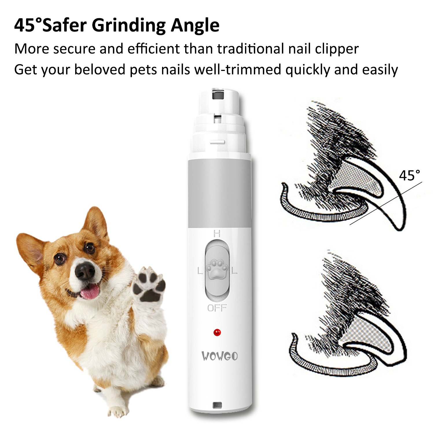 Pet Nail Grinder Rechargeable USB Charging Electric Gentle Nail Trimmer Clipper with Nail File Grooming Tool Painless for Small Medium Large Dogs Cats Pets Paws Updated Generations by WOWGO