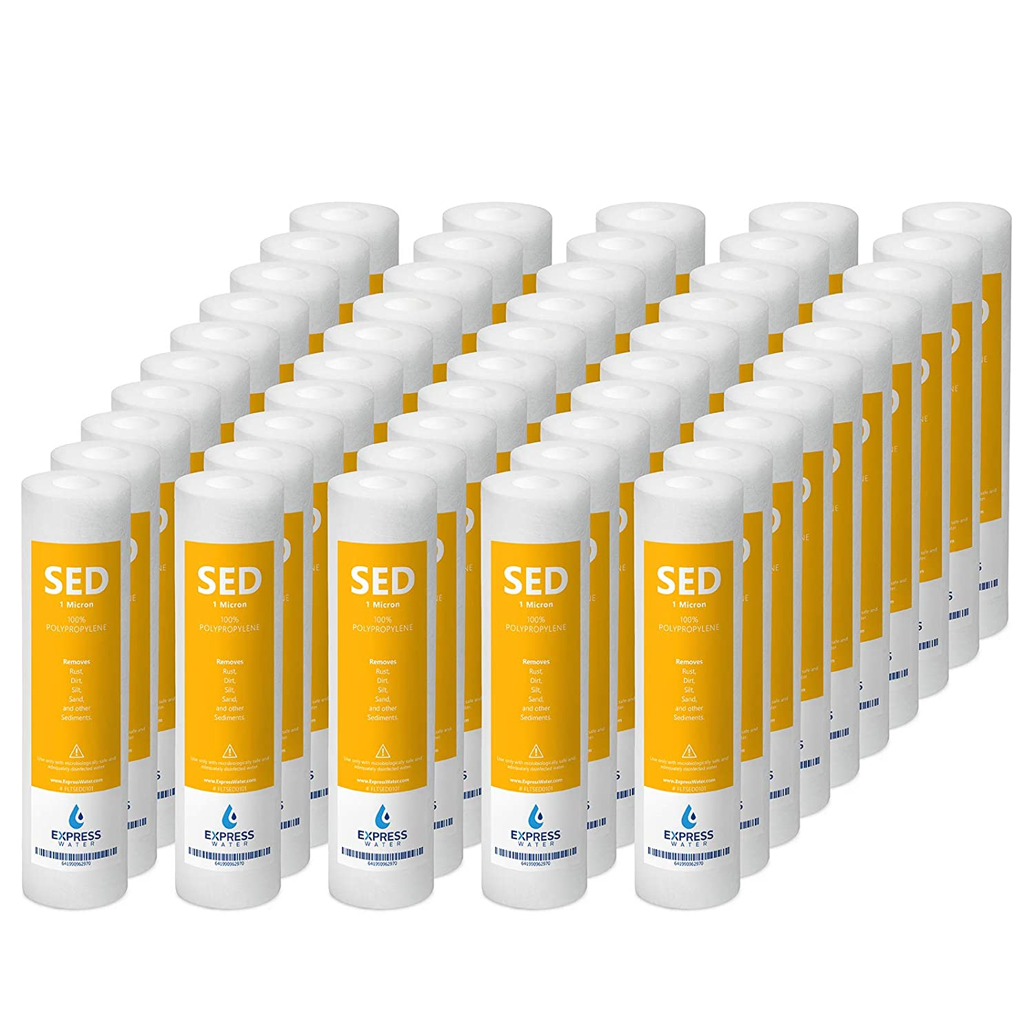 Express Water High Capacity Under Sink and Reverse Osmosis System 10 Pack Sediment Water Filter Replacement 1 Micron 10 inch