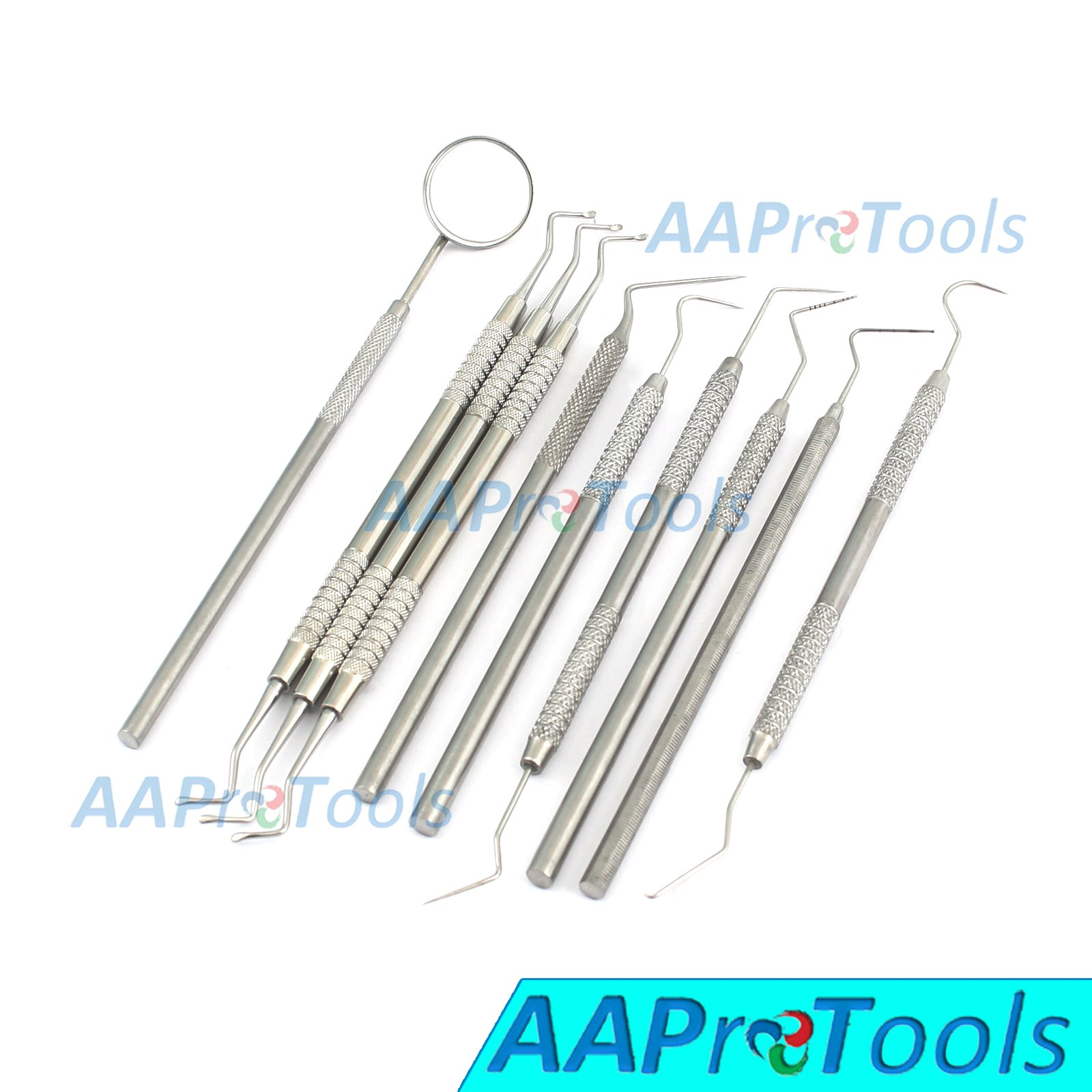 AAPROTOOLS 10 PCS PREMIUM DENTAL EXAMINATION SET EXPLORERS PROBES EXCAVATORS SPREADERS MIRROR A+ QUALITY