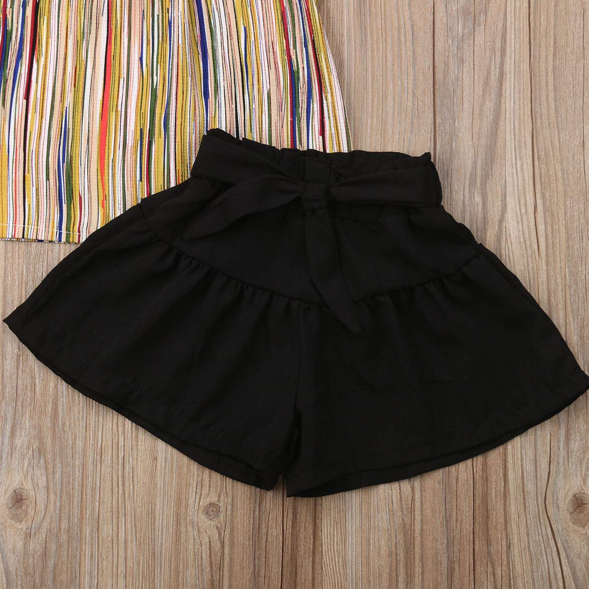 Toddler Girls Chiffon Clothes Set Striped Vest Top Tee+Bloomers Shorts Summer Outfit