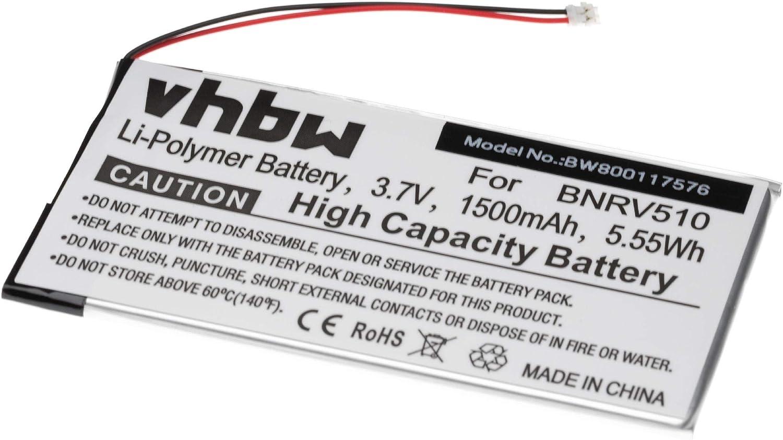 vhbw batería Compatible con Kobo Aura H20 lectores de Libros electrónicos eBook Reader (1500mAh, 3,7V, polímero de Litio)