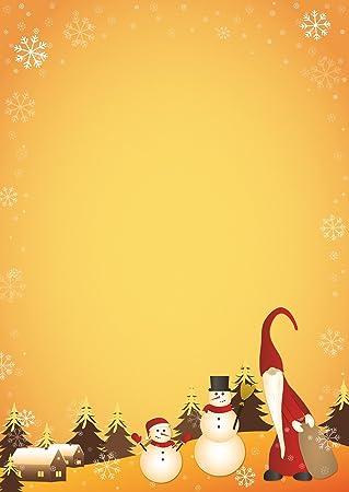 Motivpapier Weihnachten.Briefpapier Wichtel Mit Schneemann Motivpapier Weihnachten Din A4