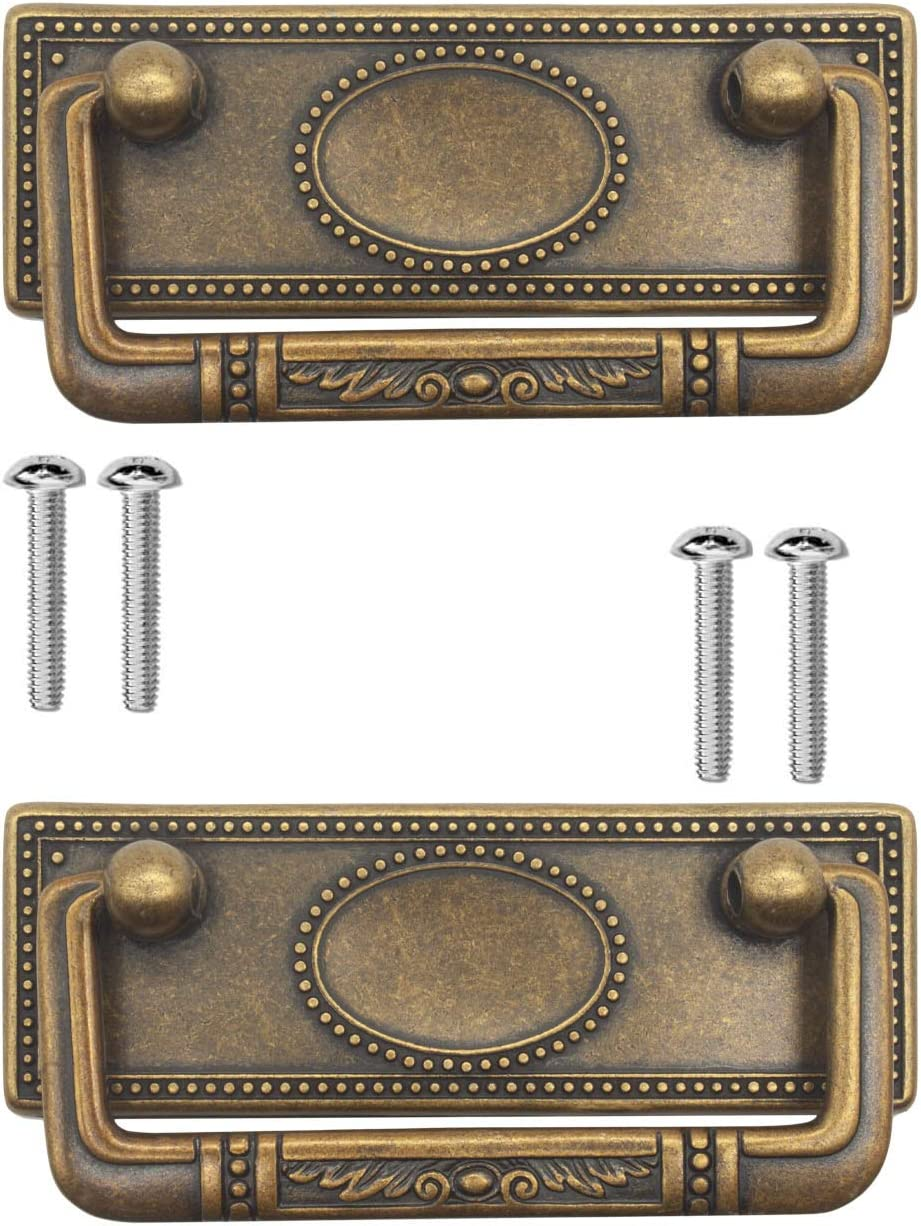 FUXXER® - 2 tiradores de muebles antiguos, plegables, tiradores de cajones, tiradores de armario, asas plegables para baúles, armarios, cómodas, diseño antiguo de latón bronce, 95 x 41 mm, juego de 2