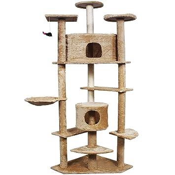 Pingkay Deluxe 80u0026quot; Cat Tree Condo Furniture Scratch Post Pet House  Beige Color