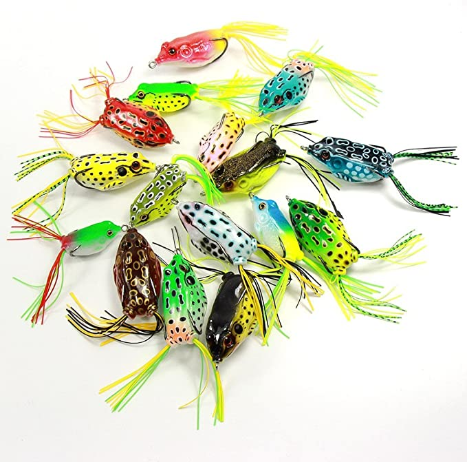 18 Pcs Croch Hollow Body Frog Lure Weedless Topwater Kit Super Durable Hooks for sale online