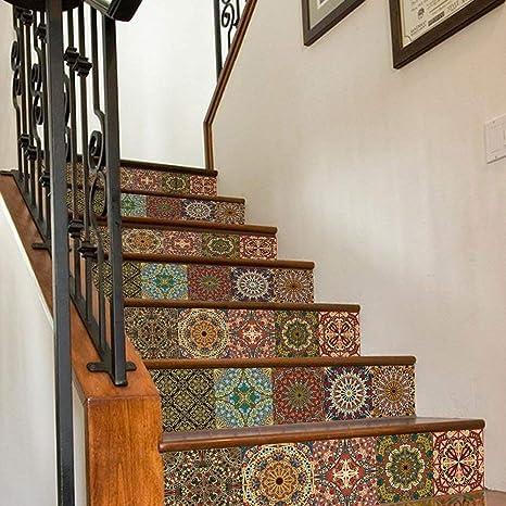 YAN Pegatinas de decoración del hogar Escalera de Escalera de Azulejos de cerámica 3D Creativo, Dormitorio casero Pegatinas de Escalera de Dormitorio de niños, Pegatinas de PVC Impermeable,100 * 18cm: Amazon.es: Deportes