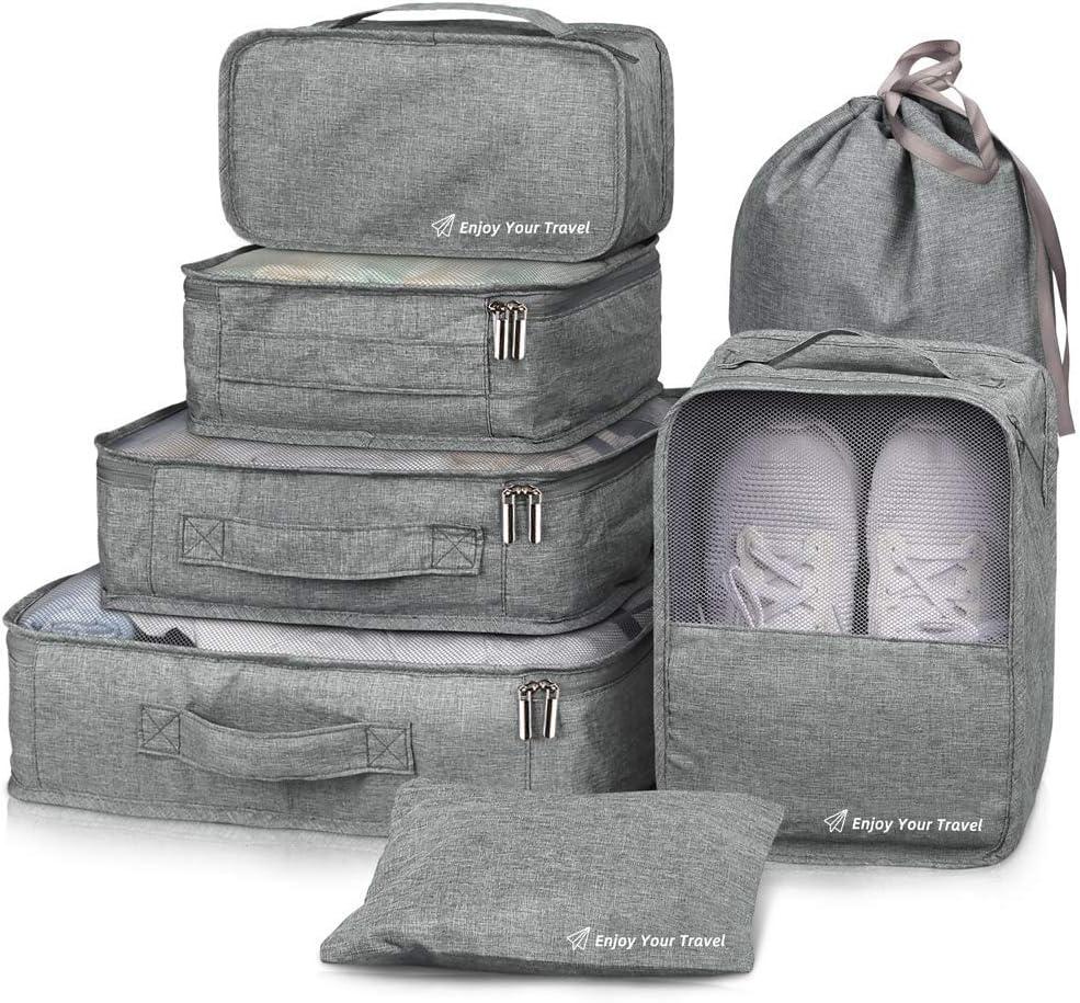 Packing Cubes VAGREEZ 7 Pcs Travel Luggage Packing Organizers Set with Laundry Bag (Grey)