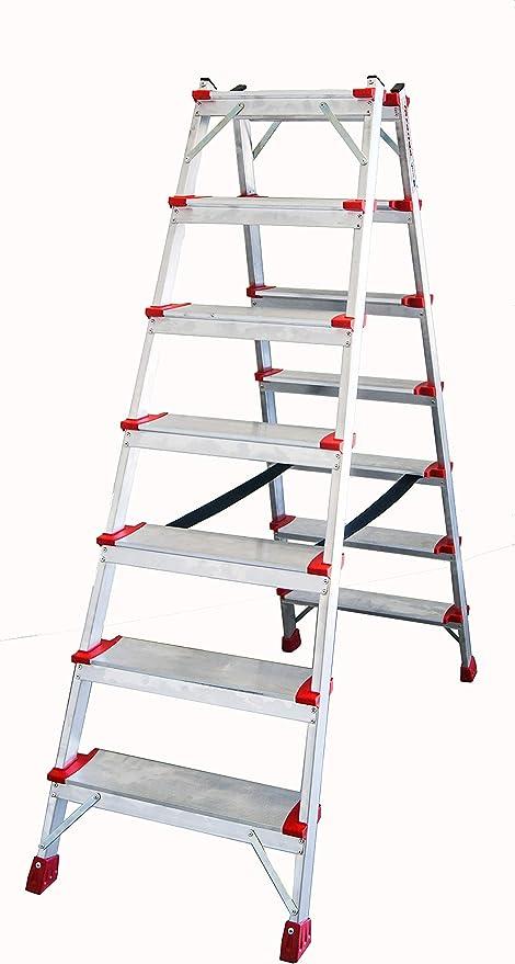 FARAONE ND 07 Escalera de Doble Subida de 7+7 con Peldaños Cóm, Metálico: Amazon.es: Bricolaje y herramientas