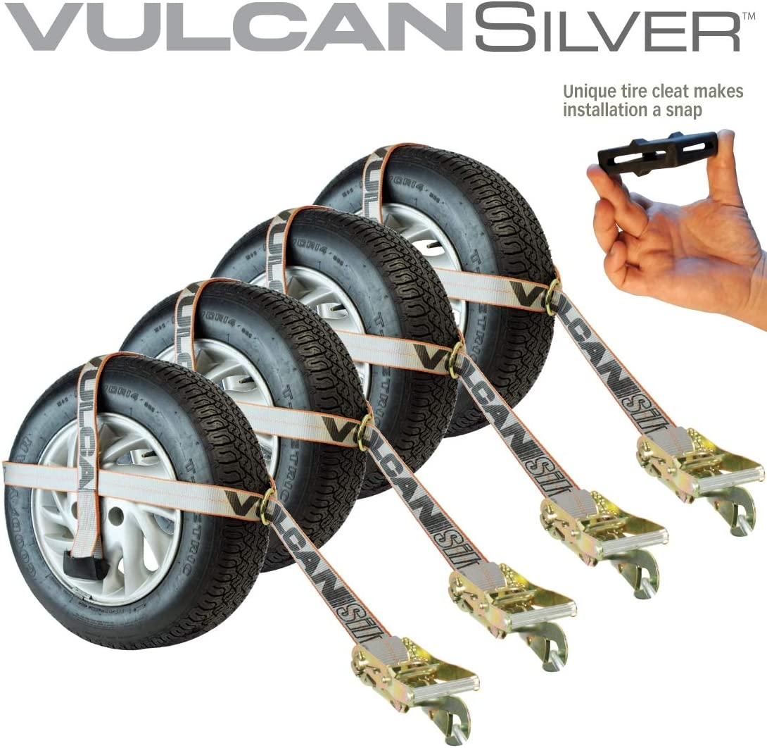 Vulcan Classic Yellow Adjustable Loop Car Tie Down Kit With Snap Hooks Complete Kit Includes 4 Straps And 4 Ratchets