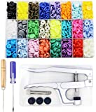KAM Snaps Buttons + Snap Pliers, Starter Fasteners Kit, 384 Sets 24-Colors, Size 20 T5 KAM Snap Plastic Fasteners Punch Poppers Closures No-Sew Buttons for Crafts Cloth Diaper Bibs
