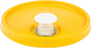 Hudson Exchange Lid with Spout and Gasket for 3.5, 5, 6, and 7 gal Buckets, HDPE, Yellow