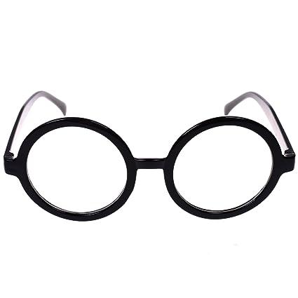 Amazon.com: BCP Plastic Black Round Frame Eyeglasses Costume Party ...