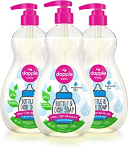 DAPPLE Baby Bottle and Dish Soap, Fragrance Free Dish Liquid, Plant Based, Hypoallergenic, 1 Pump Included, 16.9 Fluid Ounces (Pack of 3) (Packaging May Vary)
