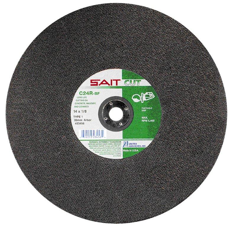 United Abrasives- SAIT 23413 Type 1 12-Inch x 1/8-Inch x 1-Inch 6300 Max RPM C24R Concrete Portable Saw Cut-Off Wheel, 10-Pack
