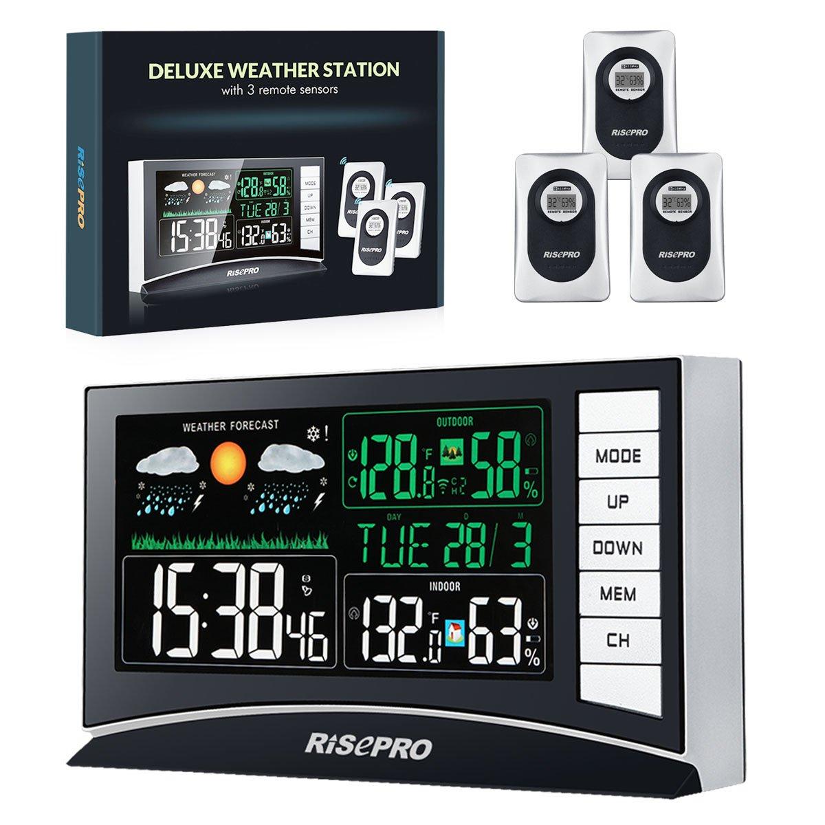 Estación meteorológica inalámbrica con 3 sensores de Temperatura de Entrada/Salida