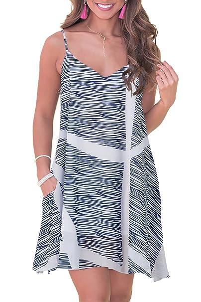 a64efababebe4 RAISEVERN Women's Summer Dress Floral Beach Sundress Sleeveless ...