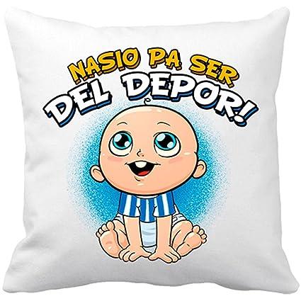 Cojín con relleno nacido para ser del Depor Coruña fútbol - Blanco, 35 x 35