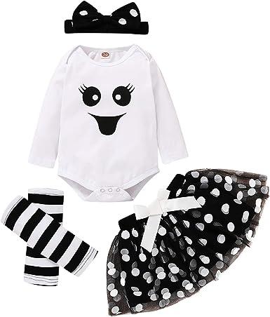 Newborn Baby Girl Halloween Dress Outfit Set Ghost Romper Polk Dot Skirt with Leg Warmer Headband 4pcs Clothes