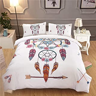 3 Pieces Dreamcatcher Duvet Cover Set Chic Watercolor Dreamcatcher Feathers Pattern Quilt Cover Bedspread Bedding Comforter Cover (White, Full) ENQI TRADE
