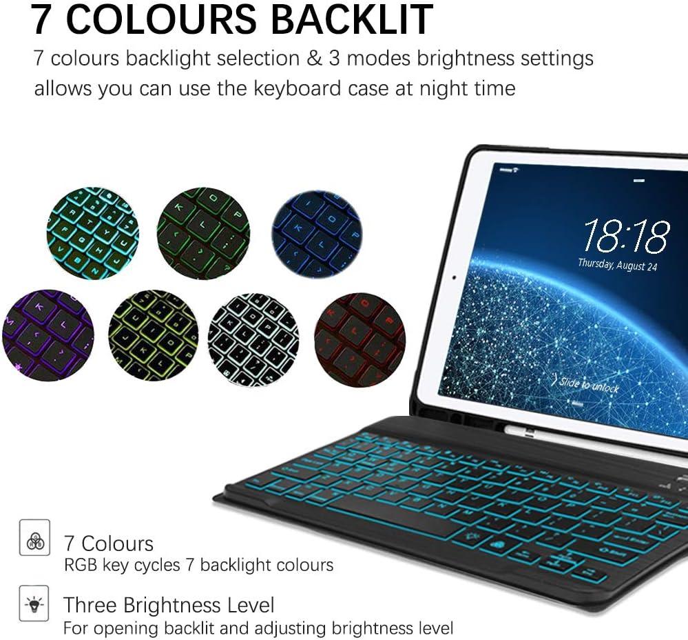 Funda de Cuero Inteligente Teclado Bluetooth para iPad 10.22019 A2197 // A2198 // A2200 Upworld Funda para Teclado iPad 7th Gen con retroiluminaci/ón de 7 Colores y portal/ápices Oro Rosa