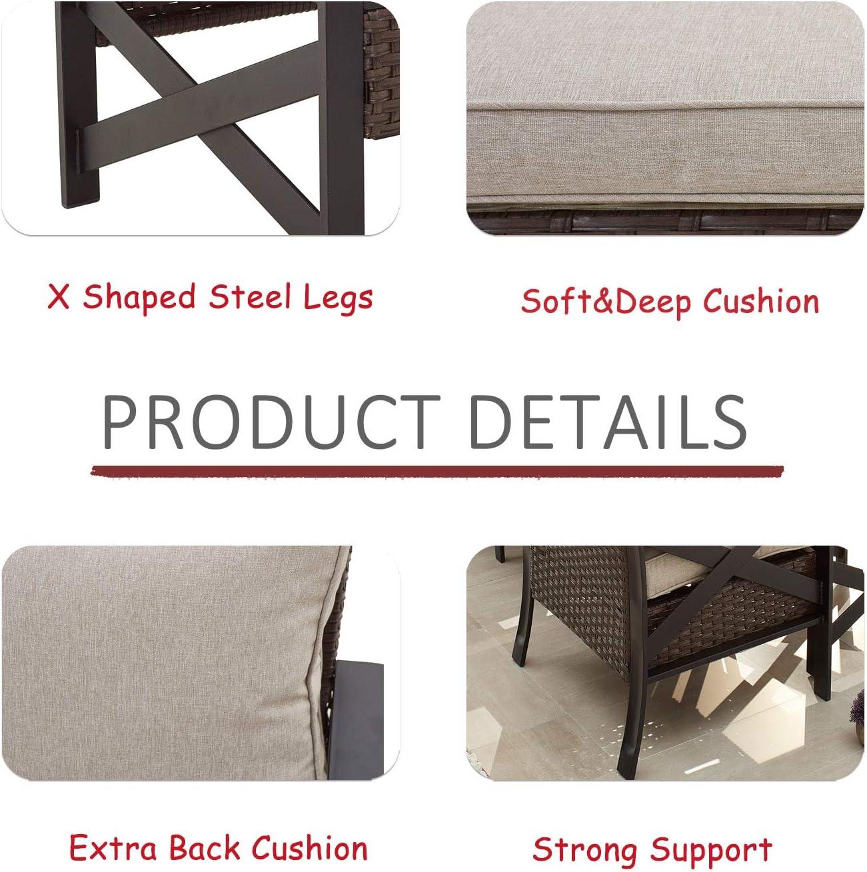 LOKATSE HOME Outdoor Patio Furniture Modern Wicker Sofa Chair Rattan Conversation Single Armchair with Cushion, Brown : Garden & Outdoor