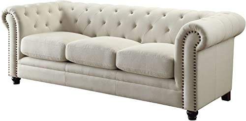 Coaster Home Furnishings Roy Sofa with Rolled Back and Arms Oatmeal