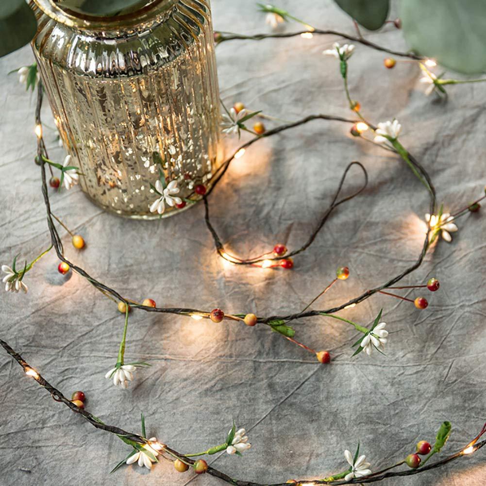 6.6Ft Tiny Flower and Fruit Vine Fairy String Lights 20 LED Artificial Flower Decorative Night Light Battery Powered String Light for Christmas Wedding Garden Birthday Decor