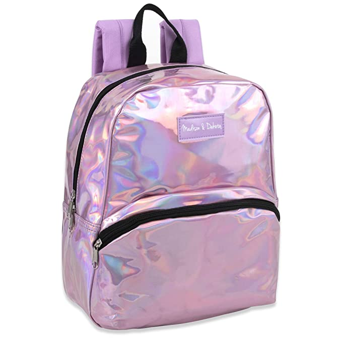 Holographic Laser Leather and Shiny Glitter Mini Backpacks for Women & Girls for Travel, College & Work