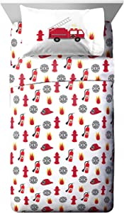 Jay Franco Trend Collector Go Fire Truck Go Full Sheet Set - 4 Piece Set Super Soft and Cozy Kid's Bedding - Fade Resistant Microfiber Sheets