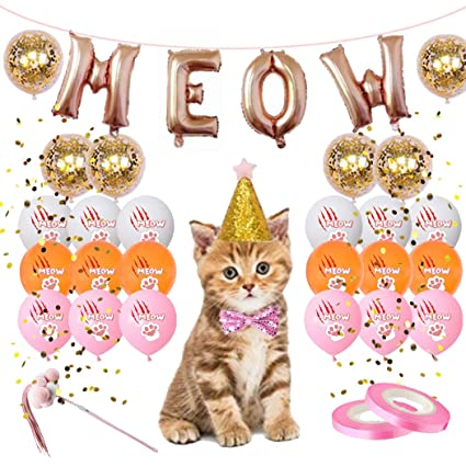 Amazon.com: Juego de 30 globos para gatos, diseño de letra ...