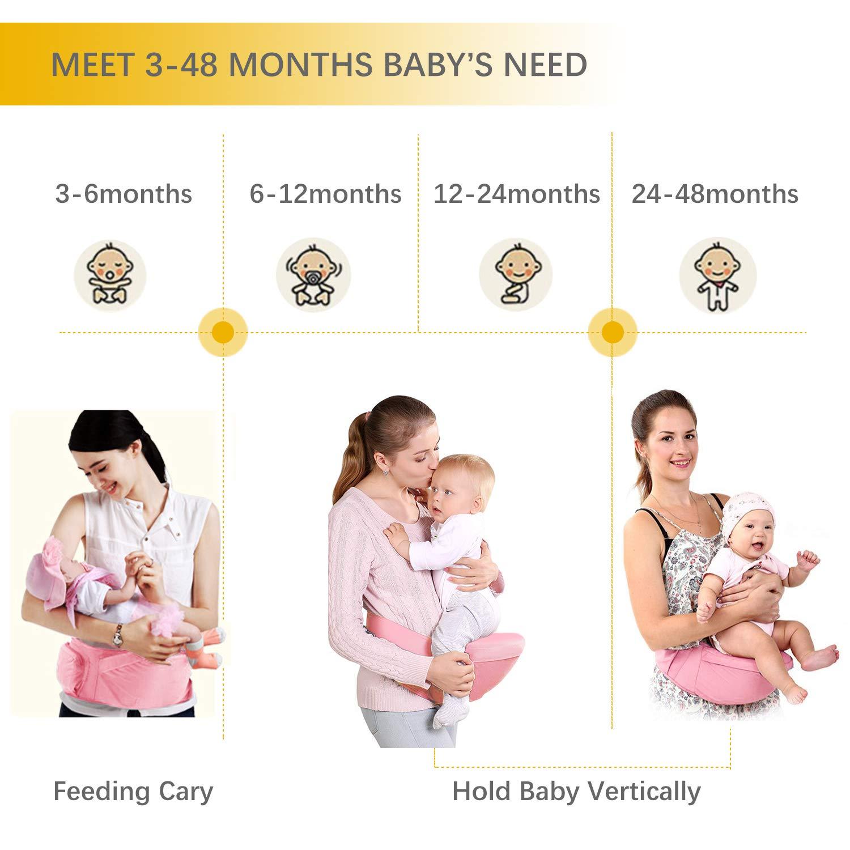 Viedouce Baby H/üftsitz Ergonomische mit Sicherheitsgurt Schutz,Reine Baumwolle Leicht und atmungsaktiv,Ergonomischer Leichte Taille Hocker Baby H/üftsitz f/ür 3-48 Monate Dunkelblau
