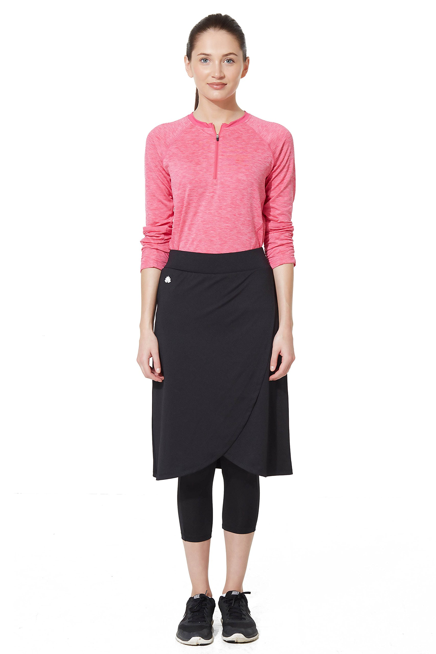 Modesty Athleisure Snoga Faux Wrap Skirt w/Attached Leggings - Black XXS
