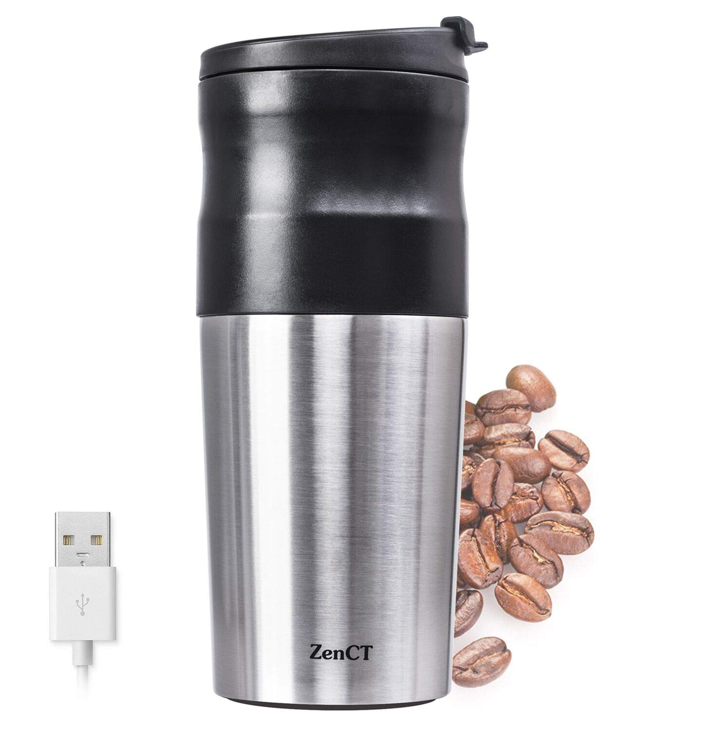ZenCT Single Cup Coffee Maker, Grind and Brew Single Serve Includes Electric Burr Grinder USB Chargeable - Reusable Filter - 15 oz Insulated Tumbler Wanjialong