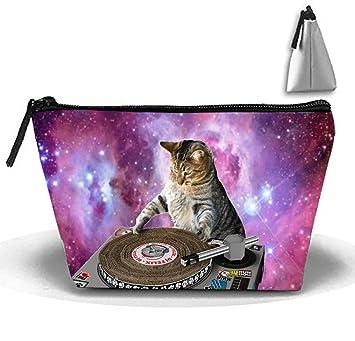 Amazon Com Galaxy Cat Wallpaper Cosmetic Bags Travel Toiletry