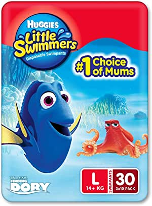 Huggies Little Swimmers Swim Nappy, Large (14+ KG), 30 Swimming Nappies (3 x 10 Pack)