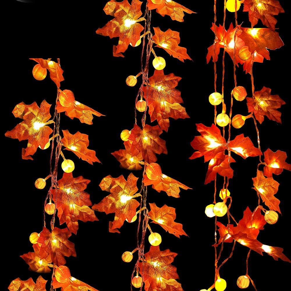 Fall Garland Decoration with Light for Home, 30 LED Maple Leaf & Pumpkin String Light Autumn Decor fit Thanksgiving Decoration Indoor Outdoor Halloween Holiday Party 3 AA Battery Powered