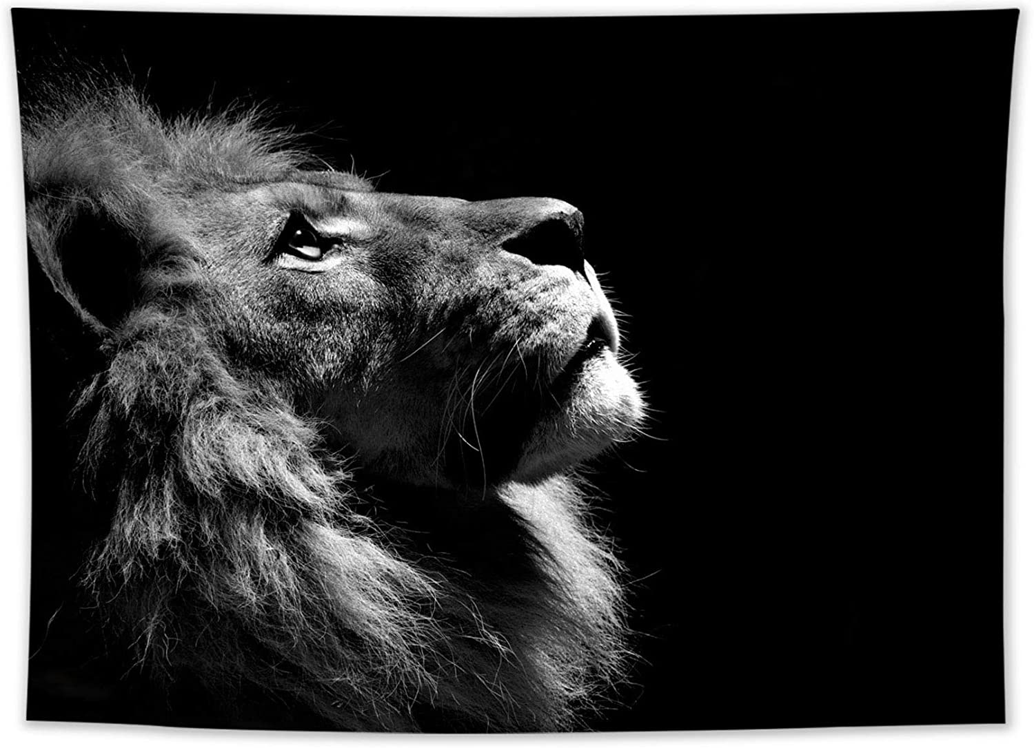 LB Lion Tapestry Wild Animal Tapestry African Lion Black and White Grey Leo Tapestry Wall Hanging for Bedroom Living Room Dorm Wall Art Backdrop Home Decor 60x50 inch