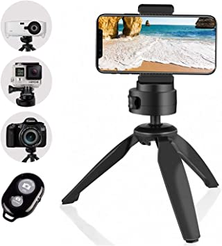 Mini Metal Lightweight Height Adjustable 1//4 Screw Desktop Tripod with Phone Clip for DSLR