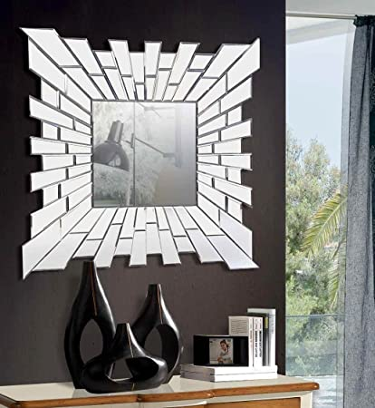 Giner Espejos Modernos De Cristal Domine Cuadrado Grande Amazon - Espejos-modernos