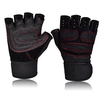 Guantes deportivos Gimnasio Guantes medio dedo respirable del levantamiento de pesas con mancuernas fitness Gimnasio Hombres Mujeres Tamaño de los guantes ...